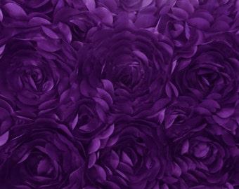 Satin Petal Rosette Purple 58 Inch Fabric by the Yard, 1 yard.
