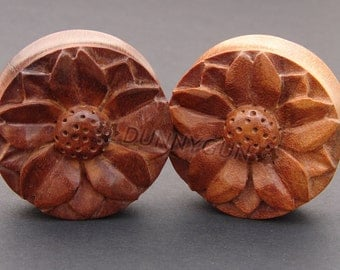 "2"" Pair Carved Cherry Blossom Flower Red Saba Wood Gauged Plugs Organic Hand Carved Body Piercing Jewelry"