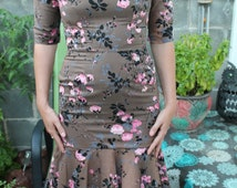 Vintage 50's Mermaid Pin Up Couture Floral Rock A Billy Dress