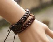 couple bracelet 2 color real leather bracelet women Leather Bracelet Men leather bracelet, boyfriend gift  T036
