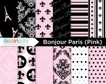 Digital Paper - Bonjour Paris (Pink) - Instant download
