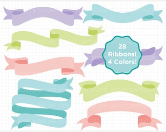 Ribbons - Pastel Banners Clipart - Blog Header Banners Clip Art / Digital Clipart - Instant Download