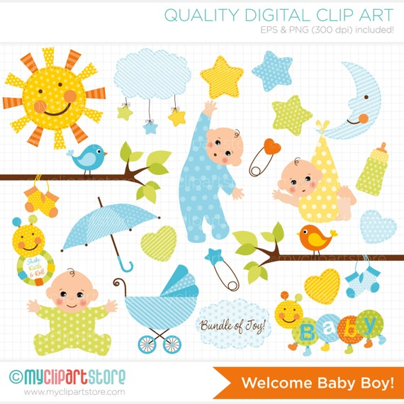 Clipart - New Baby Boy / Baby Announcement /  - Digital Clip Art (Instant Download)