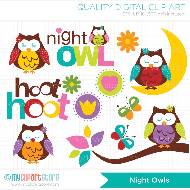 Clipart Night Owl / Tree branch Digital Clip by MyClipArtStore