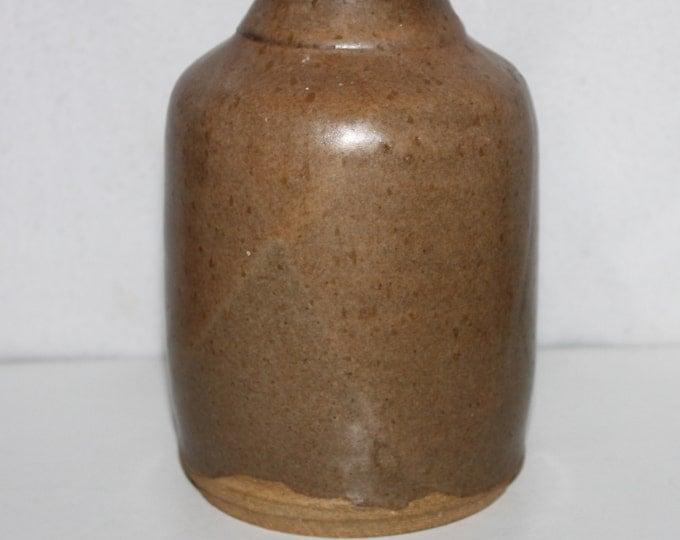 Light Brown Slip-Grazed Canning crock, Redware crock jar