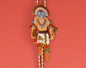 Vintage Kachina 80s Director Shriner Phoenix Accessory Ethnic Indian Western Hipster Indie Boho Bolo