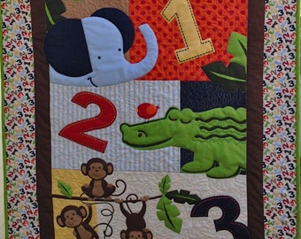 Jungle Numbers Baby Quilt