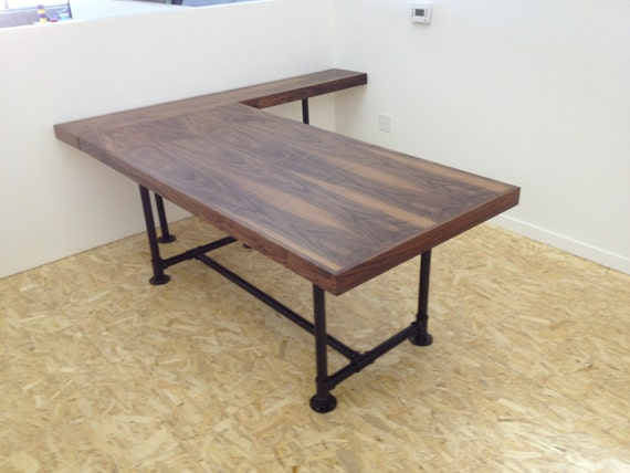 Items Similar To Walnut Desk With Pipe Legs On Etsy