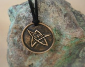 Bronze Elder Sign Protection Amulet Necklace - Lovecraft / Cthulhu Inspired