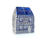 Blue And White Ceramic House. Miniature House,Ceramic Sculpture
