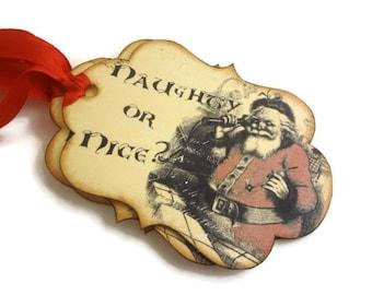 Christmas Tags, Naughty or Nice Tags, Santa Gift Tags, Holiday Tags, Vintage Inspired Christmas Tags, Set of 10