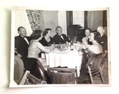 Vintage Couples at Black Tie Dinner Snapshot Smoking and Drinking Pabst
