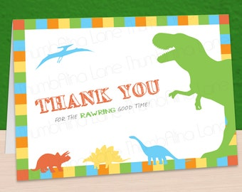 Dinosaur Printable Thank You Note Card, Instant Download, DIY, T-Rex, Rawr, Roar