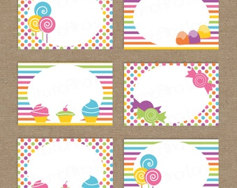 Sweet Shop Candy Land Printable Folding Buffet Cards, Instant Download, DIY