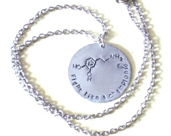 Fathers Day Gift - Handmade and Hand Stamped Parkinson's Disease and Addiction Awareness Necklace - Personalized Necklace for Men and Women