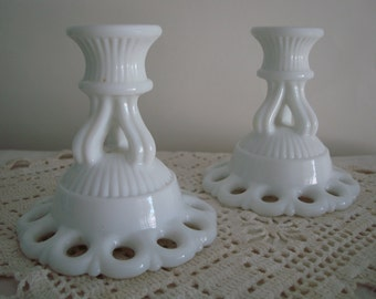 WESTMORELAND CANDLE HOLDERS-Pair of Doric Milk Glass with Free Set of 2 Hot Pink Candlesticks
