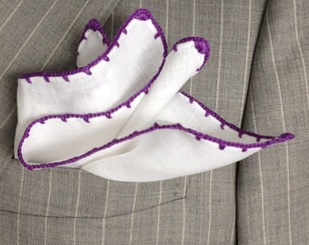 Handmade Linen Pocket Square Purple