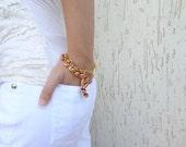 Red Coral Bracelet, Gold Bracelet, Bridesmaid Gifts, Bangle Bracelet, Women Fashion,  Gift for Her