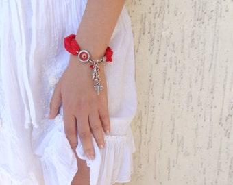 Red Luck Evil Eye Bracelet-Turkish Silk Bracelet-Silver Plated Bracelet-Traditional Bracelet