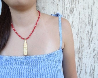 Galata Tower Pendant, Red Jade Necklace, Gold Plated Necklace,   Feminine ,