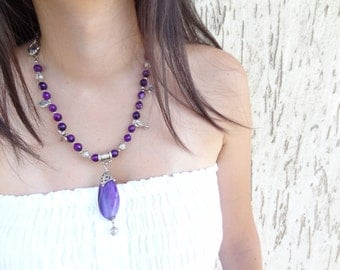 Purple Agat Necklace, Silver Plated Necklace, Turkish Silk Necklace, OOAK, Valentines,