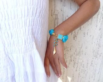 Turquoise  Turkish Silk Bracelet, Gold Bracelet, Bohemian bracelet