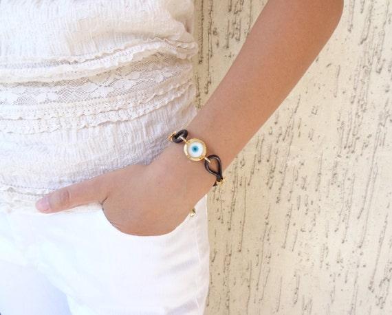 Blue Bracelet, Luck Evil Eye Beads,Protection Bracelet, Leather Rope Bracelet