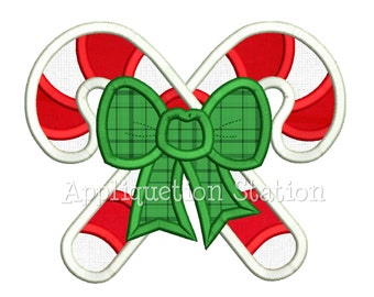 Candy Cane Bow Applique Machine Embroidery Design Christmas Holiday INSTANT DOWNLOAD
