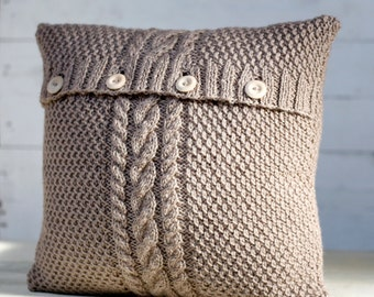 Cable hand knitted beige pillow cover - handmade decorative pillows case - natural earth color living and home decor 16x16    0185