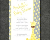 Giraffe Baby Shower Invitation - Grey and Yellow Dots - Gender Neutral - DIY Printable