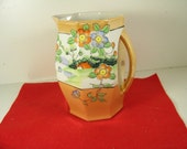 early made in Japan 6 1/4'' high lusterware pitcher = marked = very nice condition