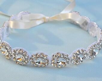 Headband - Ribbon - Crystal - Accessories - Bridal - Wedding - Rhinestone headband