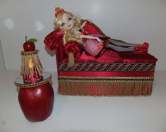 Furniture for Ever After High Dolls Handmade Chaise Lounge Bed for Apple White with Mirrored Apple Table and  Working Lamp!