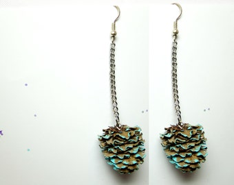 Tiny Pine Cone earrings - Real Miniature- Botanical jewelry, Pine Cone  jewelry -Eco Friendly