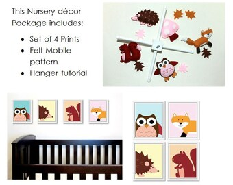 Complete Woodland Nursery Decor Package: includes felt baby mobile pattern and set of four 8x10 printable animal artworks.