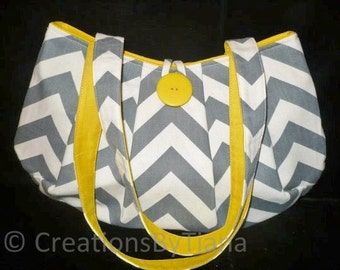 Gray & Yellow Chevron Bag Purse, Shoulder bag, handmade handbag
