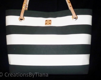 Striped Purse, Black and White stripes, Canvas Bags, Purses with leather handles, Handmade, Shoulder bag