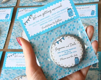 MASON JAR Save the Date 58mm Magnet with Handmade Packaging x 40