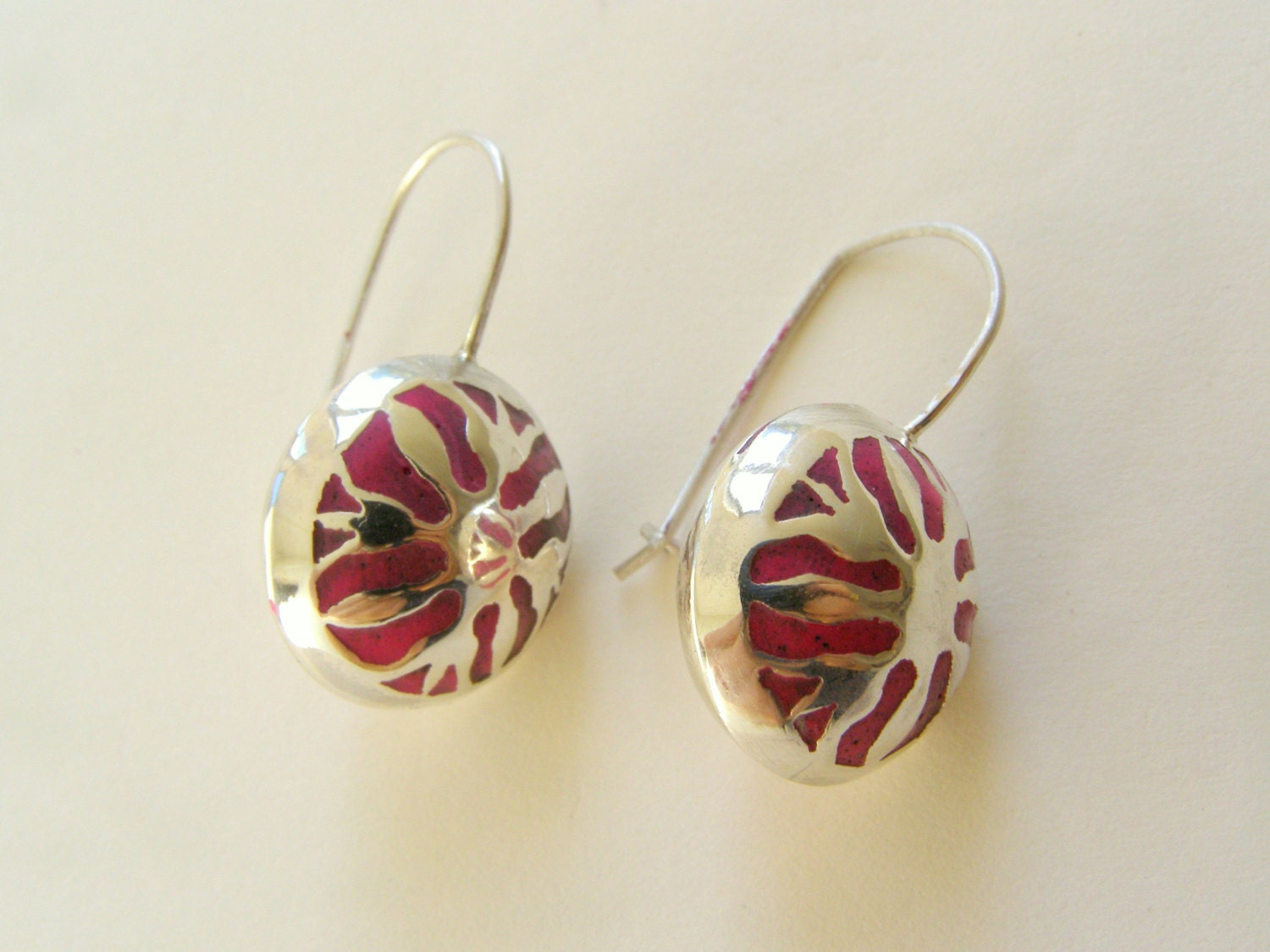 sterling silver Tatting earrings with red ruby polymarble