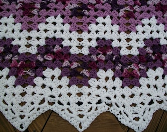 """Baby Blanket/Afghan Hand Crocheted Granny Ripple White, Lavender, Purple And Variegated Shades Of Purple 36"""" X 40""""  READY TO SHIP"""