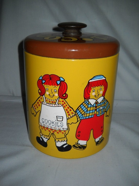 Vintage Raggedy Ann Andy Cookie Tin Jar Ransburg Co