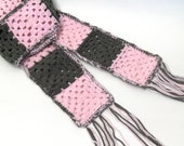 Crochet Granny Square Scarf Pink and Gray