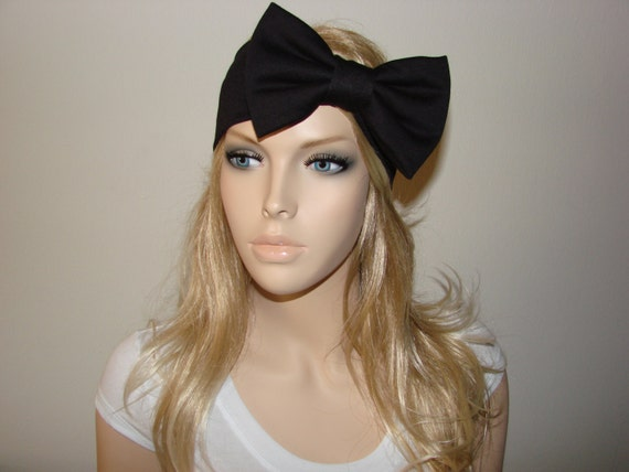 Available in Black, Ivory, and Burgundy Knit Thick Headband Large Bow Detail.