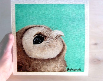 Art Print Owl painting Premium Giclee Print of original acrylic painting Signed on front and back 8X8 Wall art wall home decor