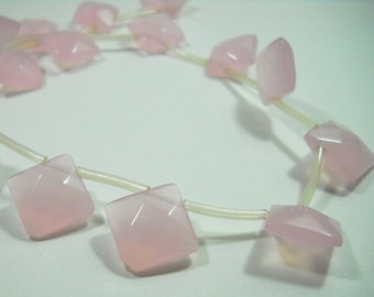 Pink Quartz Faceted Diamond Square Cut Beads 18mm