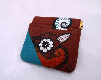 Painted Coin Purse - Abstract Floral