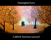 ON SALE NOW Abstract 2x4 feet painting Entangled forest Couple in love Ready to Hang Contemporary Fine Art 24x48 inches