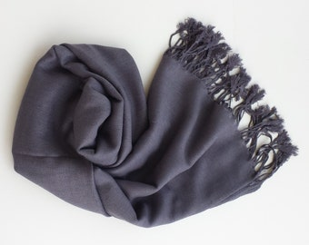 CHARCOAL GRAY PASHMINA. Pashmina Shawl. Pashmina Scarf. Bridesmaid Gifts. Wedding Favors.