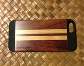 IPHONE 5 OR  5S  case , real wood hand polished exotic  rosewood and maple ,  back ,sharp looking black edge