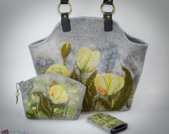 Nuno felted handbag Kit bags and covers Melody Yellow felt bag